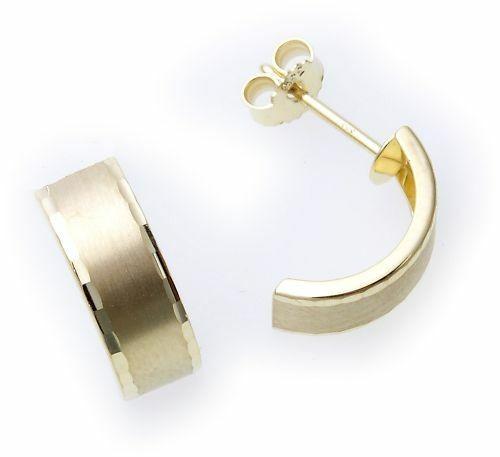 Neu Ohrringe Halbcreolen Gold 333 diamantiert Stecker Gelbgold 8 karat Creolen