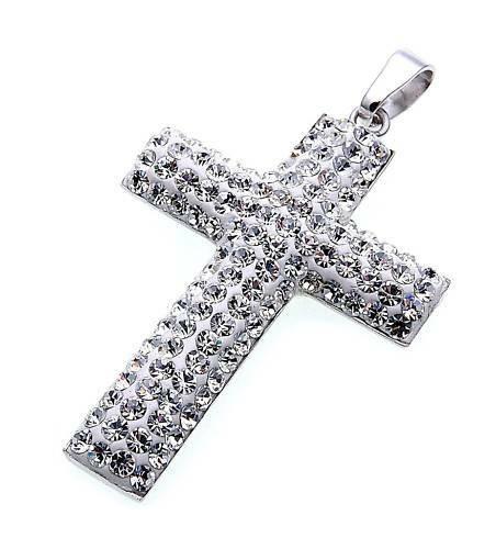 Damen Anhänger echt Silber 925 Kreuz mit Kristall rhodiniert Sterlingsilber