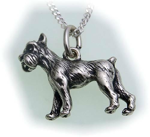 Anhänger Riesenschnauzer echt Silber 925 massiv Hund Sterlingsilber Schnauzer
