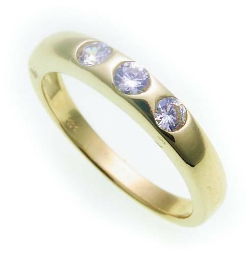 Damen Ring echt Gold 585 Zirkonia poliert Gelbgold 14kt Qualität BU1543ZI