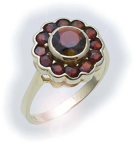 Damen Ring m. Granat in Gold 585 Gelbgold Granatring alle Weiten 8904/5GR