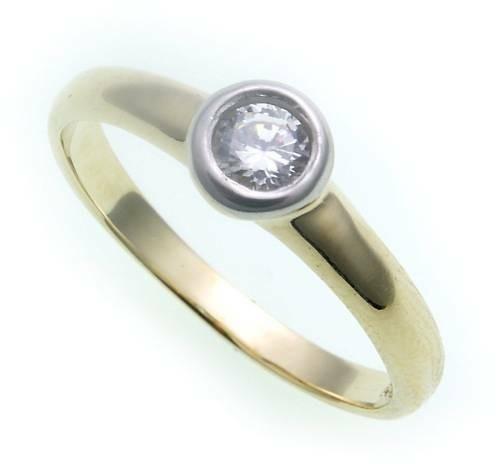 Damen Ring echt Gold 585 Zirkonia Glanz rhodiniert Gelbgold 14kt Qualität
