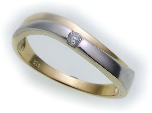 Damen Ring Bicolor echt Gold 585 Brillant 0,04ct SI Glanz Gelbgold