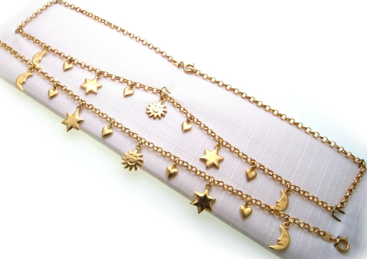 Set Halskette und Armband Double vergoldet 42 cm Charms Sonne Herz Neu Qualität