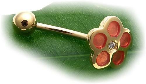 Piercing Bauchnabel echt Gold 750 Brillant Emaille Gelbgold pink gebogene Stäbe