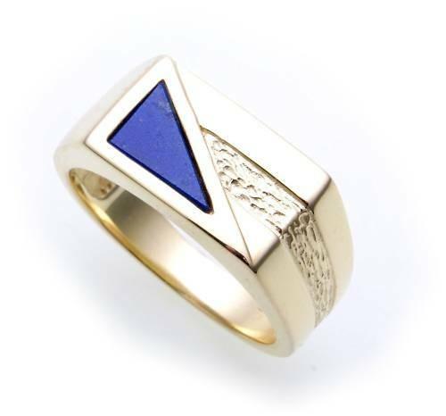 Herren Ring echt Gold 333 echt Lapis alle Steine möglich 8kt massiv Gelbgold Neu