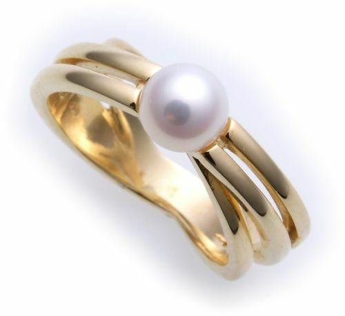 Damen Ring echt Gold 375 Perle 6,5 mm Glanz massiv Gelbgold 9kt Zuchtperle