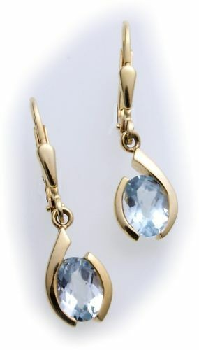 Damen Ohrringe Hänger echt Topas echt Gold 585 günstig Gelbgold Qualität
