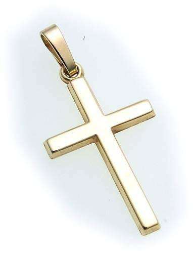 Anhänger Kreuz echt Gold 585 poliert 26 mm 14kt Gelbgold Qualität günstig Unisex