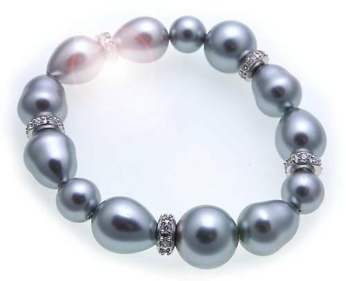 Armband Muschelkernperle 14 mm echt Silber Zirkonia Sterlingsilber Damen Perlen