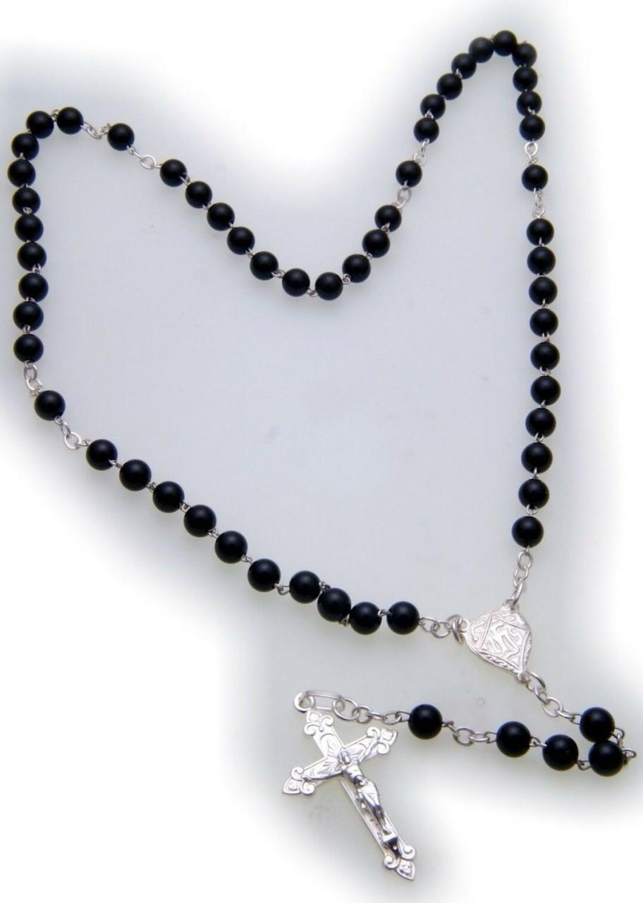 Halskette Rosenkranz Kreuz Jesus Silber 925 Sterlingsilber Onyx Kugel Unisex