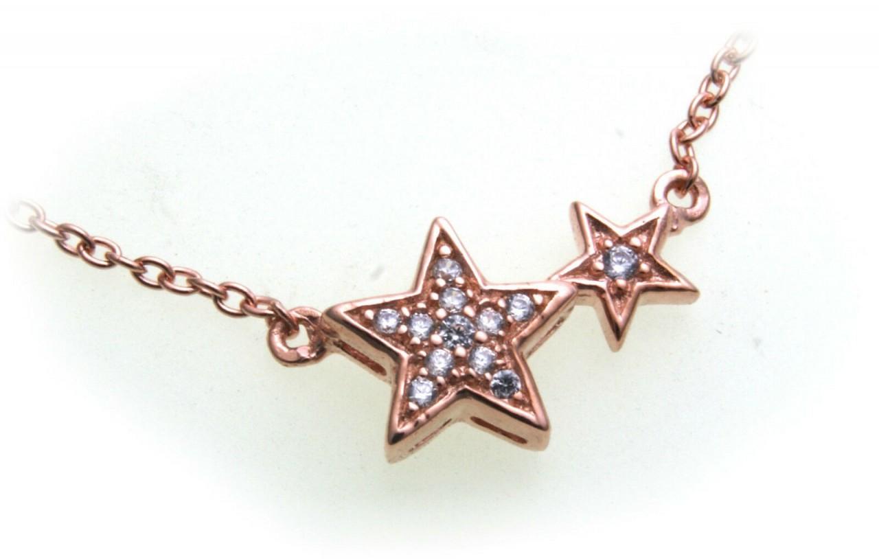 Damen Collier Silber 925 Sterlingsilber Rotgold beschi Zirkonia Halskette Stern