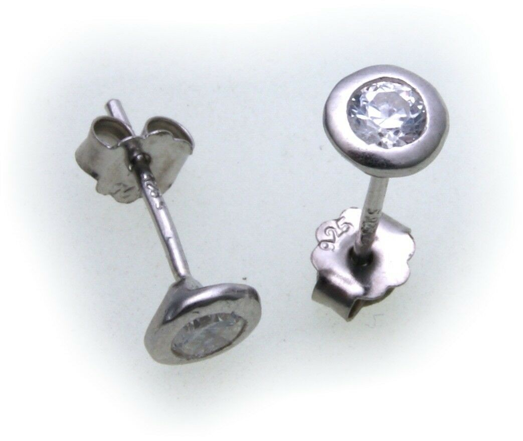 Damen Ohrringe rund 5mm Zirkonia echt Silber 925 Ohrstecker Sterlingsilber