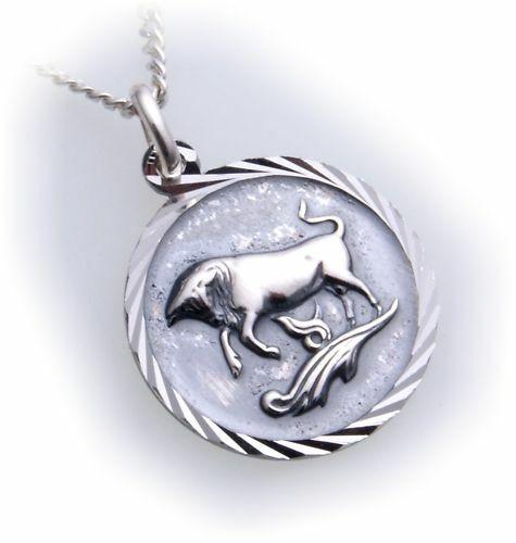 Anhänger Sternzeichen Stier echt Silber 925 mit Kette Horoskop Sterlingsilber U
