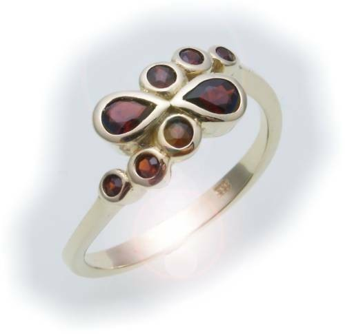 Damen Ring m. Granat in Gold 585 Gelbgold Granatring alle Weiten 8158/5GR
