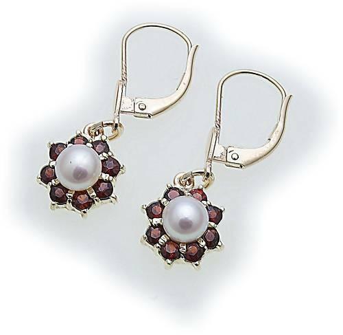 Damen Ohrringe Granat Zuchtperle Perlen in Gold 585 Gelbgold Hänger Ohrhänger