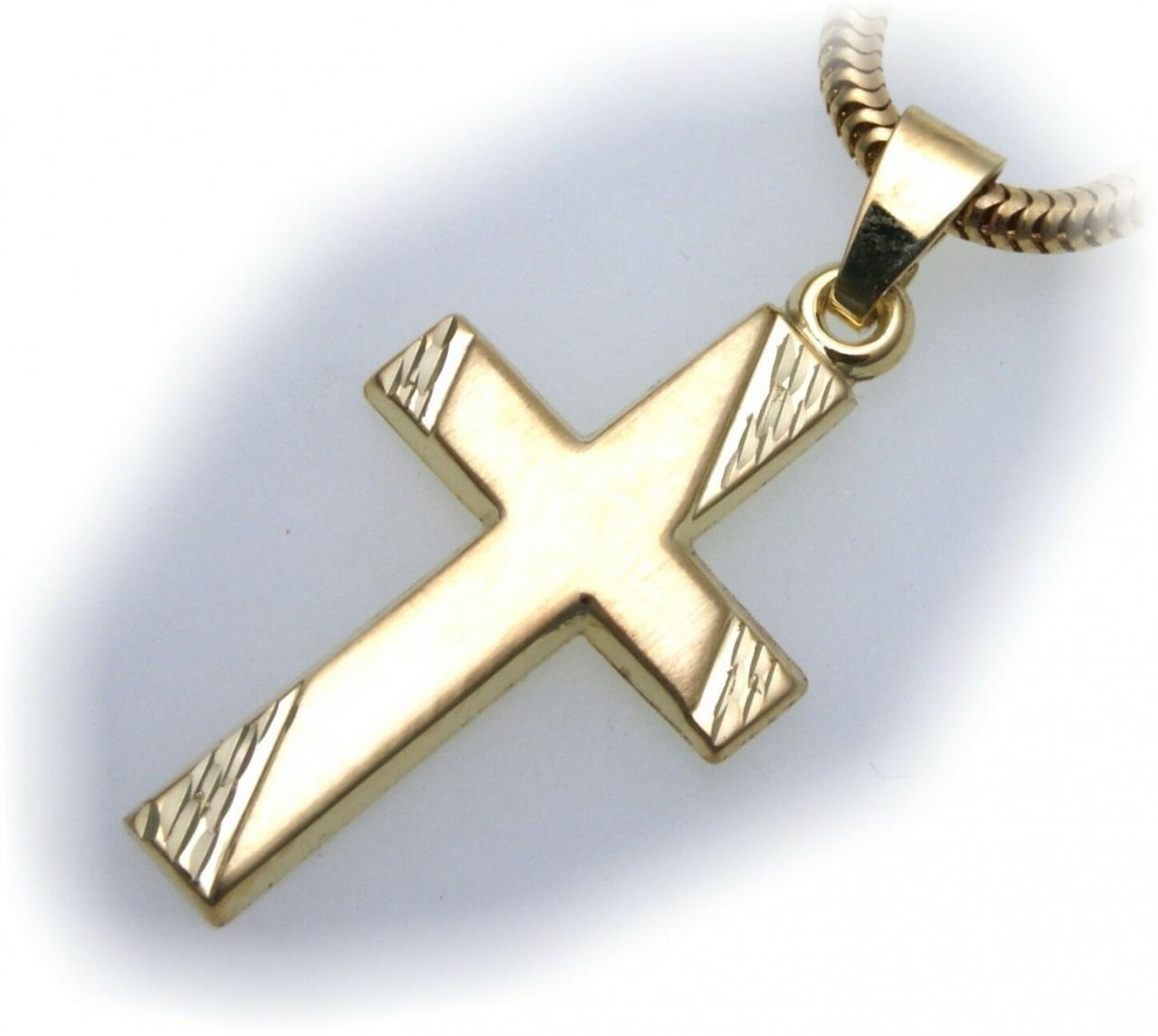 Anhänger Kreuz mattiert echt Gold 585 27 mm günstig 14kt Gelbgold Unisex Neu