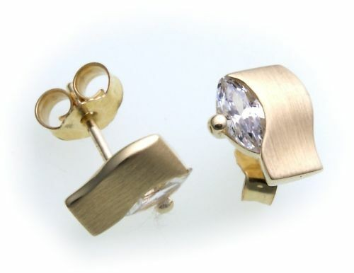 Damen Ohrringe Ohrstecker Gold 585 Zirkonia Navette Gelbgold Stecker