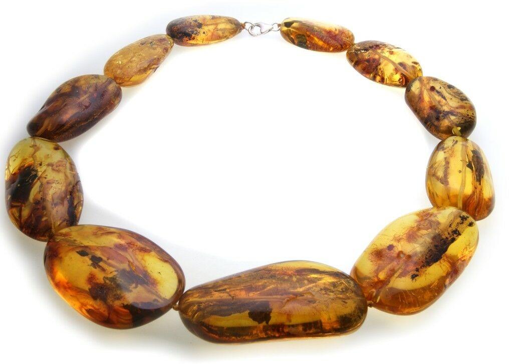 Hals Kette echter Bernstein aus der Ostsee groß Collier Damen Halskette AL31