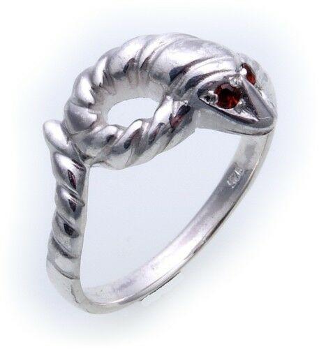 Schlangenring echt Silber 925 Rubin Ring Schlange Sterlingsilber Unisex