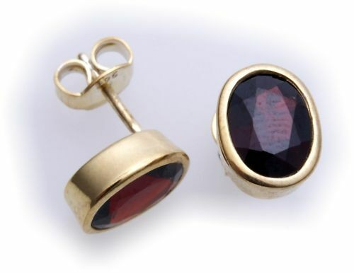 Damen Ohrringe Stecker Granat in echt Silber 925 Sterlingsilber Ohrstecker