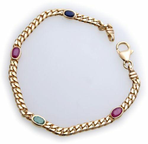 Armband Safir Saphir Rubin Smaragd echt Gold 333 8 karat Gelbgold Qualität Neu