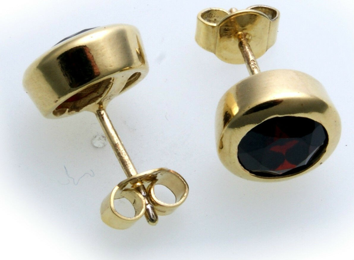Damen Ohrringe groß m. Granat in Silber 925 Ohrstecker Sterlingsilber Stecker