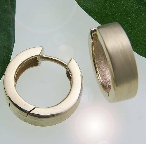 Damen Ohrringe Klappcreolen Gold 585 mattiert Qualität Gelbgold
