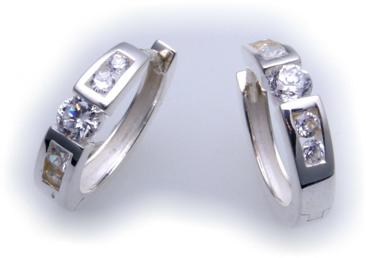exkl. Damen Ohrringe Creolen echt Silber 925 mit Zirkonia Glanz Sterlingsilber