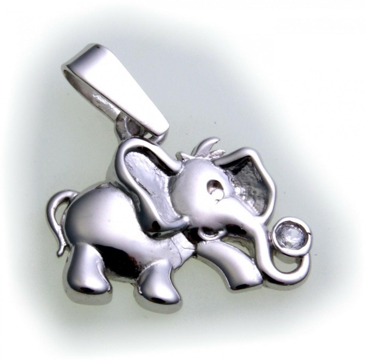 Neu Anhänger Elefant echt Silber 925 Sterlingsilber Zirkonia rhodiniert Unisex