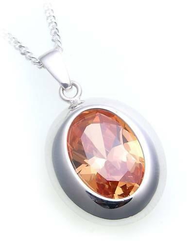Damen Anhänger Zirkonia orange echt Silber 925 Sterlingsilber