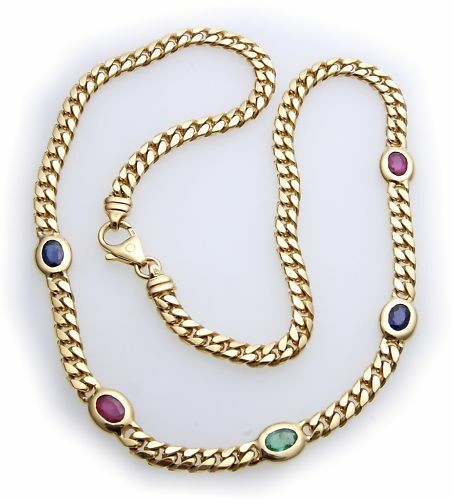 Collier echt Gold 333 echte Edelsteine Saphir Rubin Smaragd 8kt Gelbgold Damen