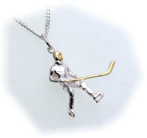 Anhänger Eishockey Spieler in Silber 925/- plastisch Sterlingsilber Unisex