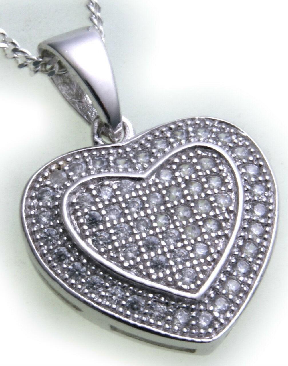 Anhänger Herz echt Silber 925 Sterlingsilber Zirkonia Mikropavee mit Halskette
