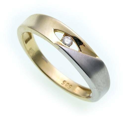 Damen Ring Brillant 0,03ct echt Gold 585 Bicolor Gelbgold Diamant SI