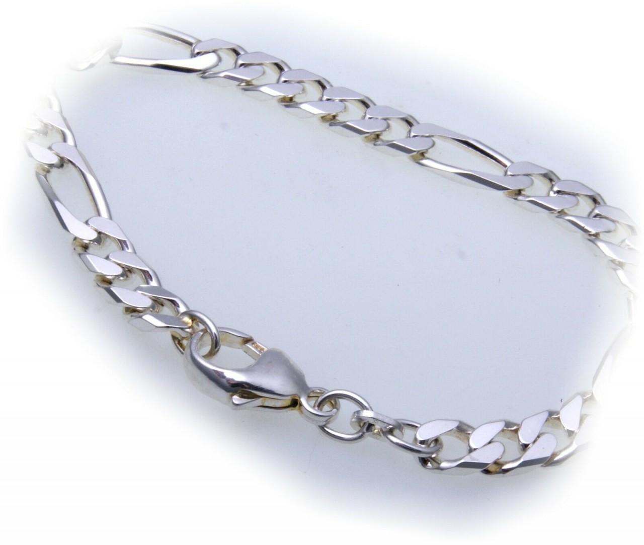 Kette Figarokette flach Silber 925 6 mm 50 cm Halskette Sterlingsilber Unisex