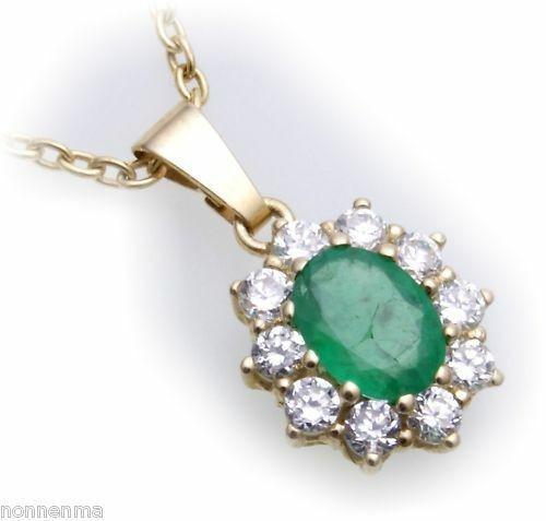Anhänger Gold 585 echt Brillant 0,40ct Smaragd 7x5 mm 14kt Diamant Gelbgold