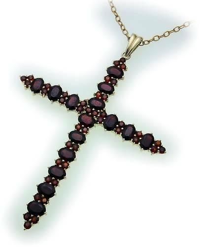 Kreuz m. Granat in Gold 585 Granatkreuz Anhänger Damen Gelbgold 9904