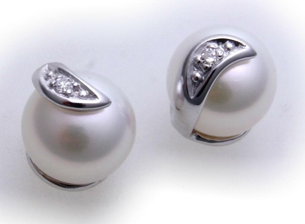 Damen Ohrringe Stecker Perlen Brillant 0,15ct Gold 375 Perle Gelbgold Ohrstecker