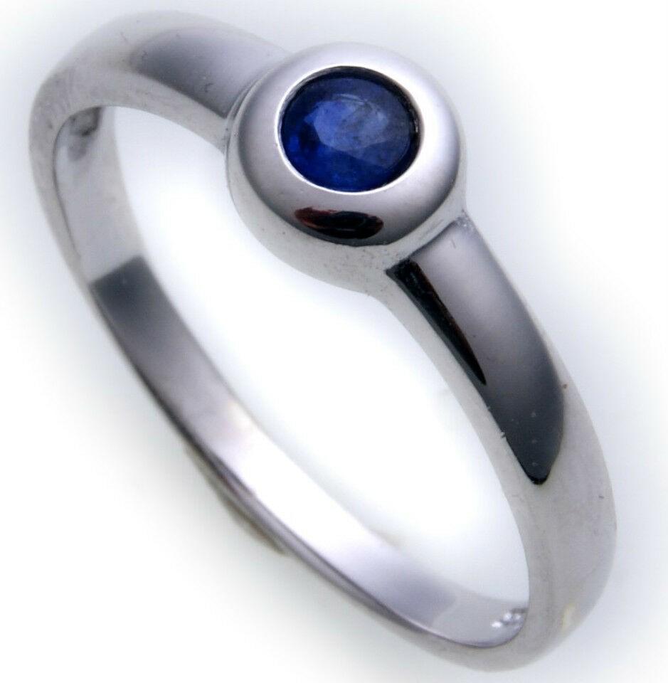 Damen Ring echt Weißgold 585 Saphir 14 karat Safir Weiß Gold Einsteiner Qualität