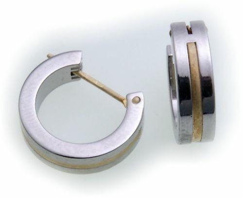 Ohrringe Creolen aus Edelstahl m Gold Damen Herren 14mm D2070
