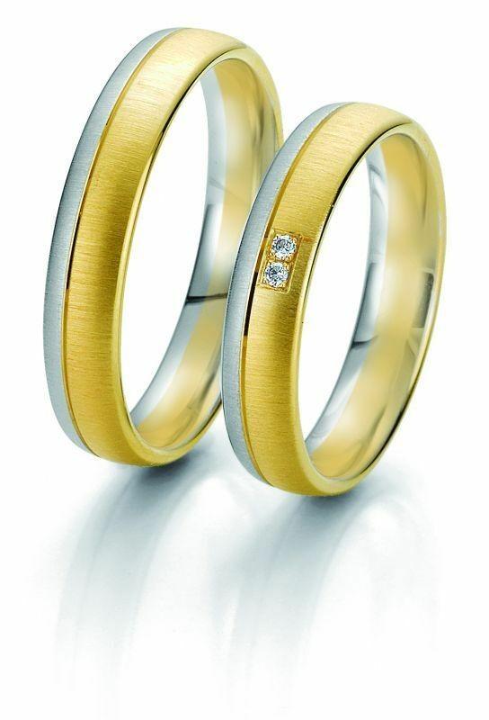 Trauringe Breuning Rainbow Collection 6229/6230 in 585 Gold weiß gelb 14 kt