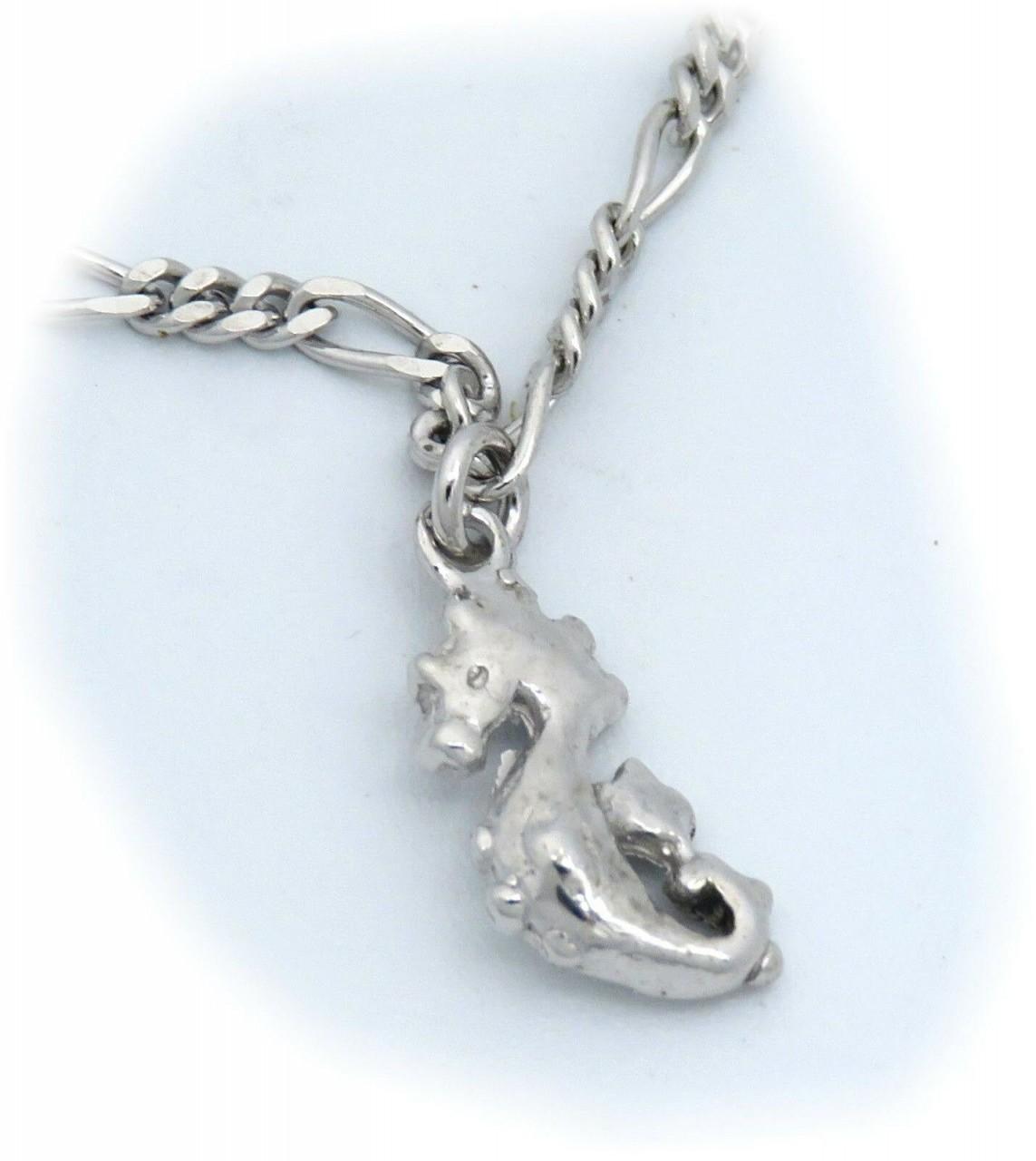 Neu Fußkettchen Seepferdchen Silber 925 Ankerkette 25cm Fußkette Sterlingsilber