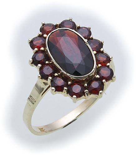 Damen Ring m. Granat in Gold 585 Gelbgold Granatring alle Weiten 8964/5GR