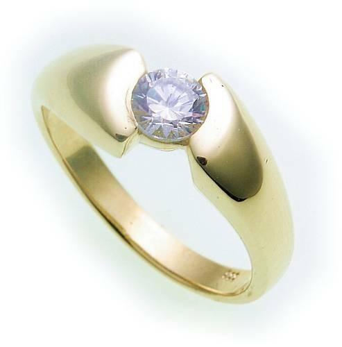 Damen Ring echt Gold 585 Zirkonia poliert Gelbgold 14kt Qualität BR1504 ZI 5
