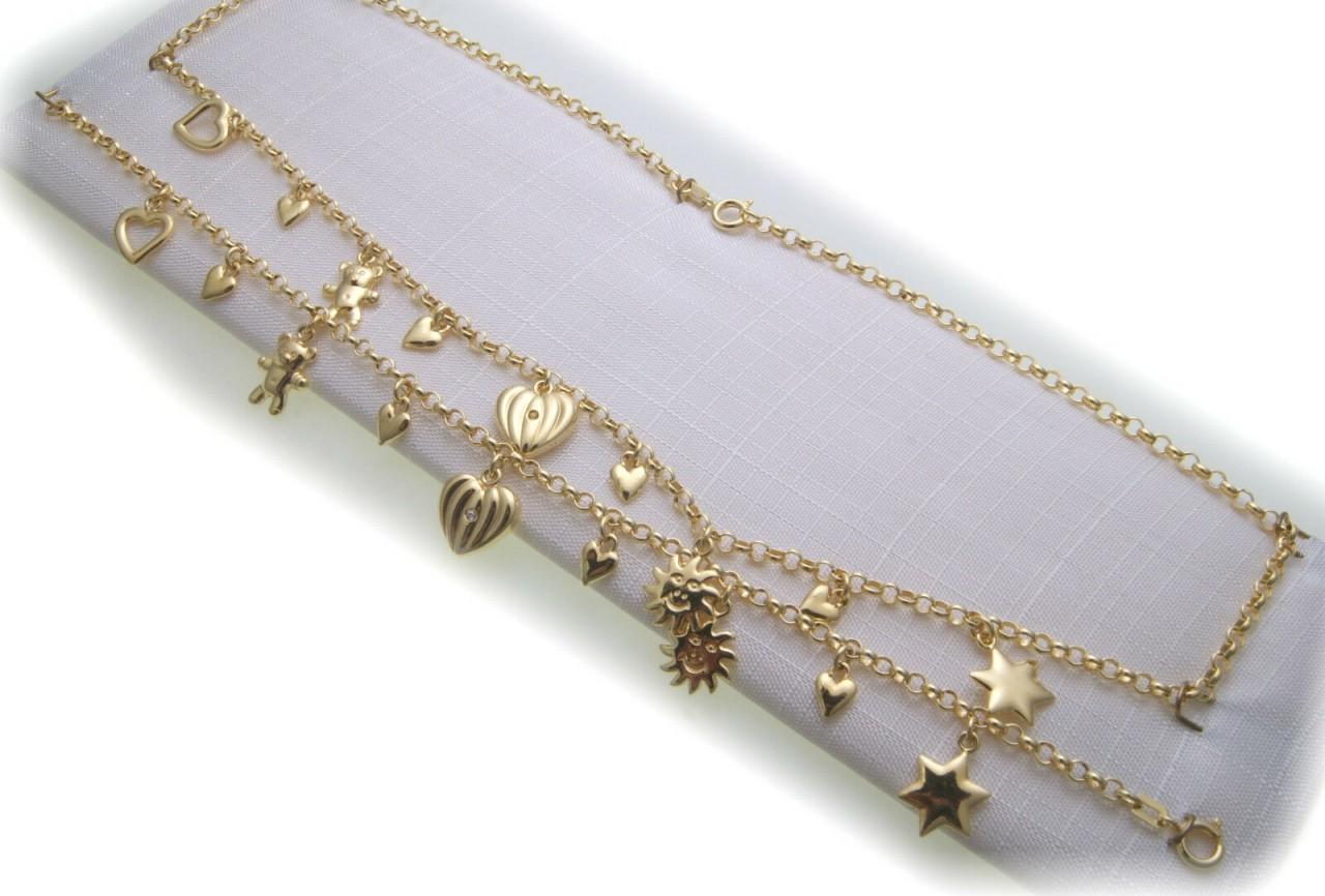 Set Halskette und Armband Double vergoldet 42 cm Charms Teddy Herz Neu Qualität